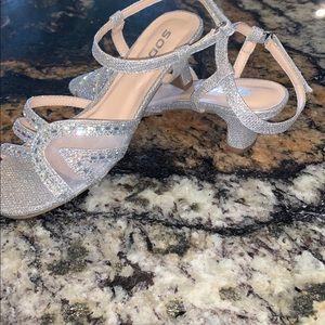Girls soda silver sparkly heels